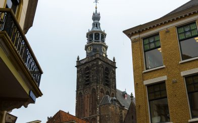 A Church Between Houses In Gouda