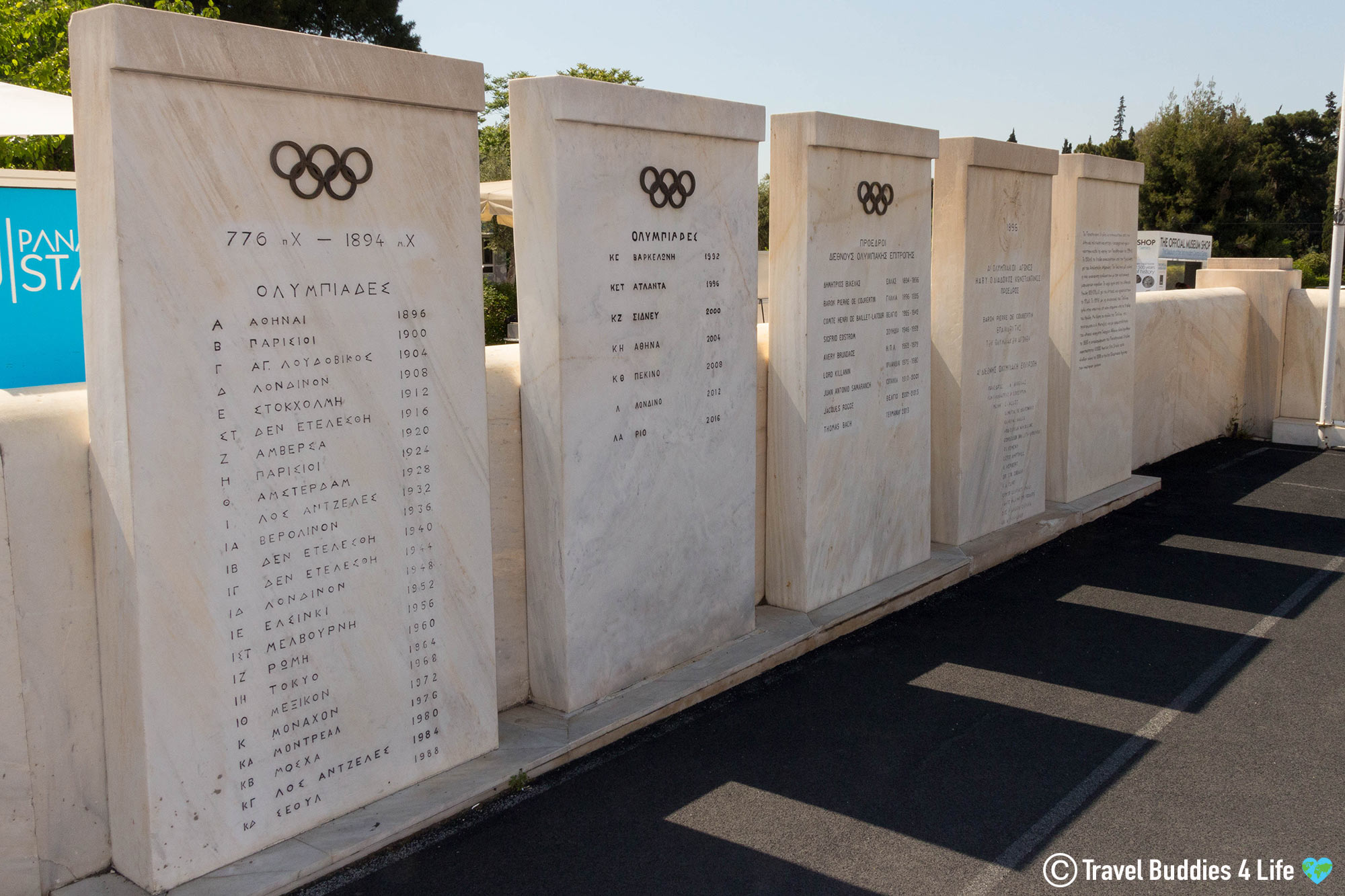A Marble Wall With The Olympic Countries At The Panathenaic Stadium, Athens Touring, Greece