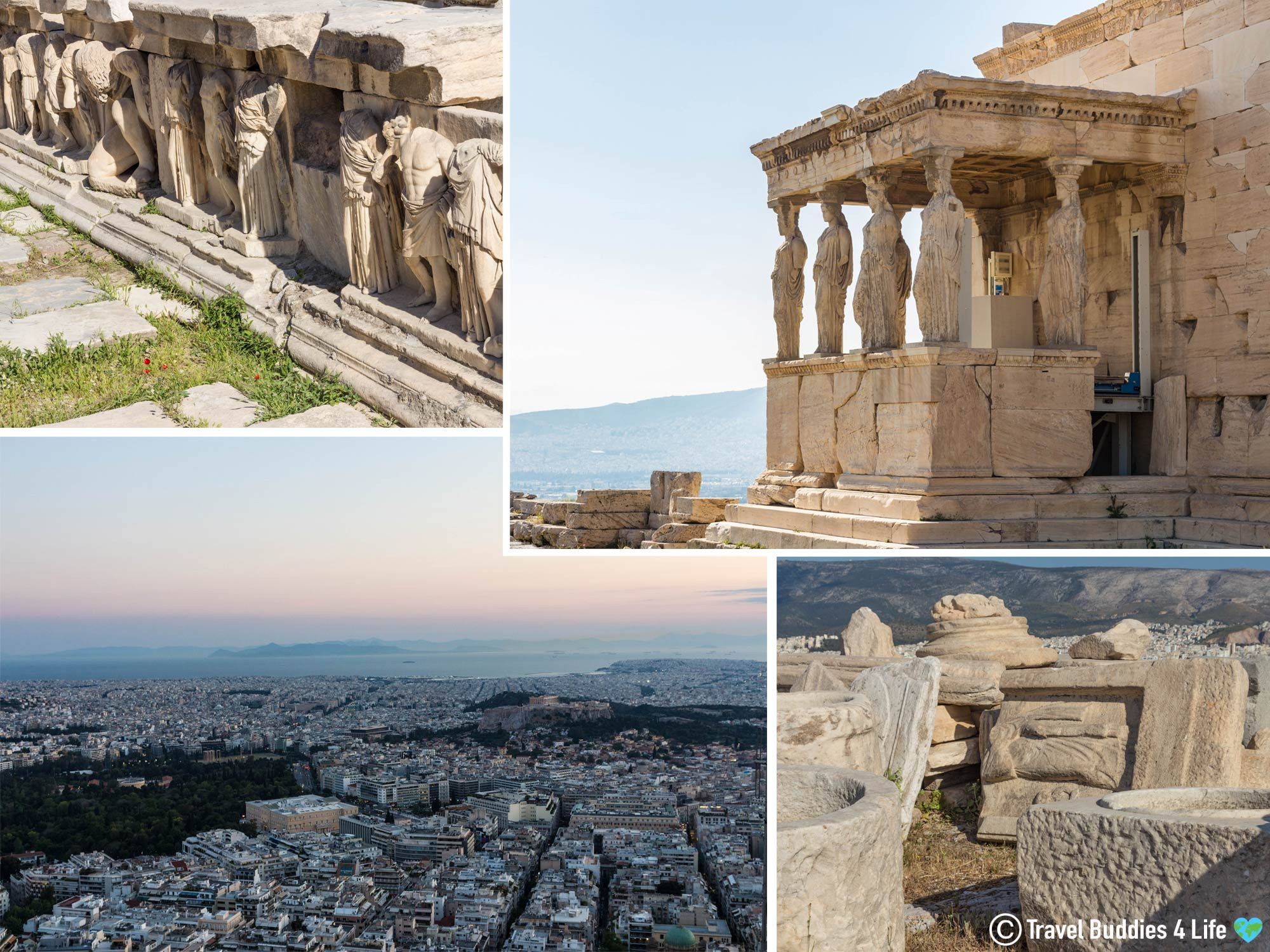 A Mosaic Of The Interesting Architectural Sites Of Athens, Greece, Travelling Europe