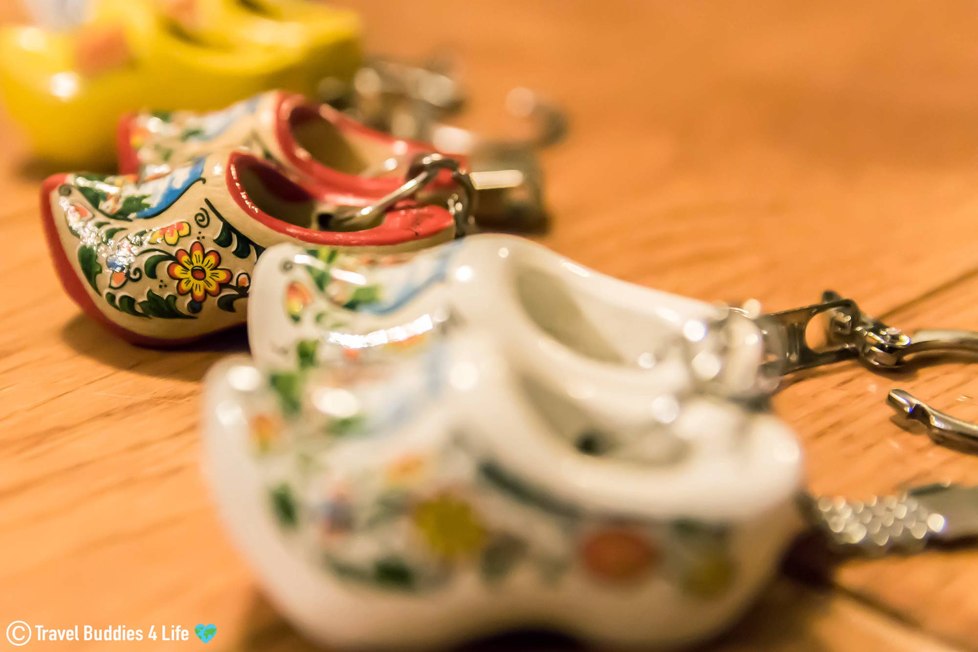 A Series Of Clog Key Chains Decorated From The Netherlands, Europe