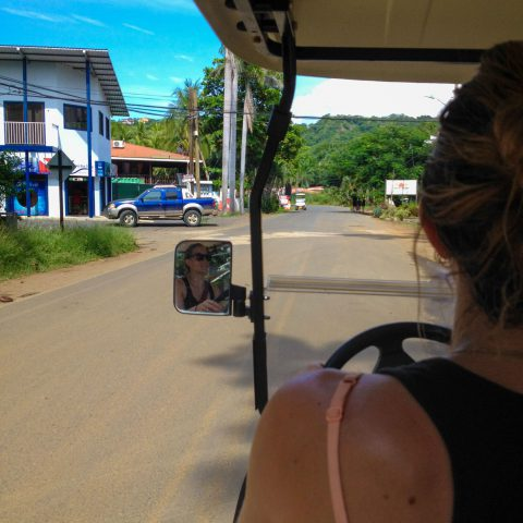 Ali Driving the Golf Cart around Playa del Coco