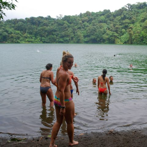 Ali Entering the Chato Volcano Lagoon Lake in Costa Rica