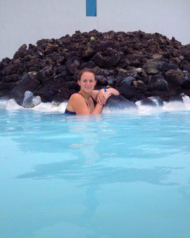 Ali Swimming by the Lava Stone