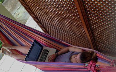 Ali Working in her Hammock