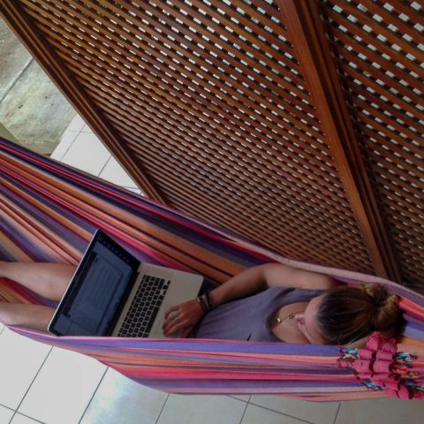 Ali Working in her Hammock