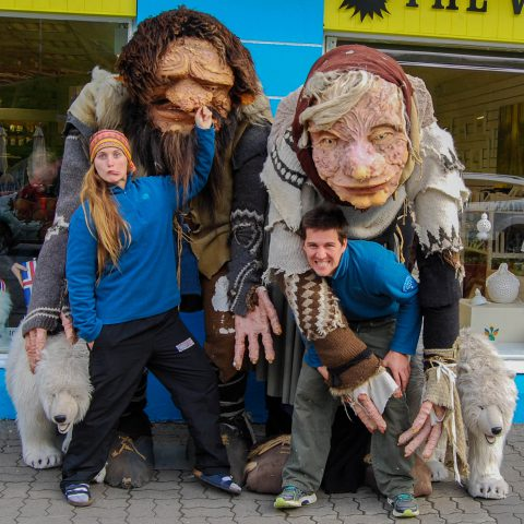 Ali and Joey with Trolls in Reykjavik