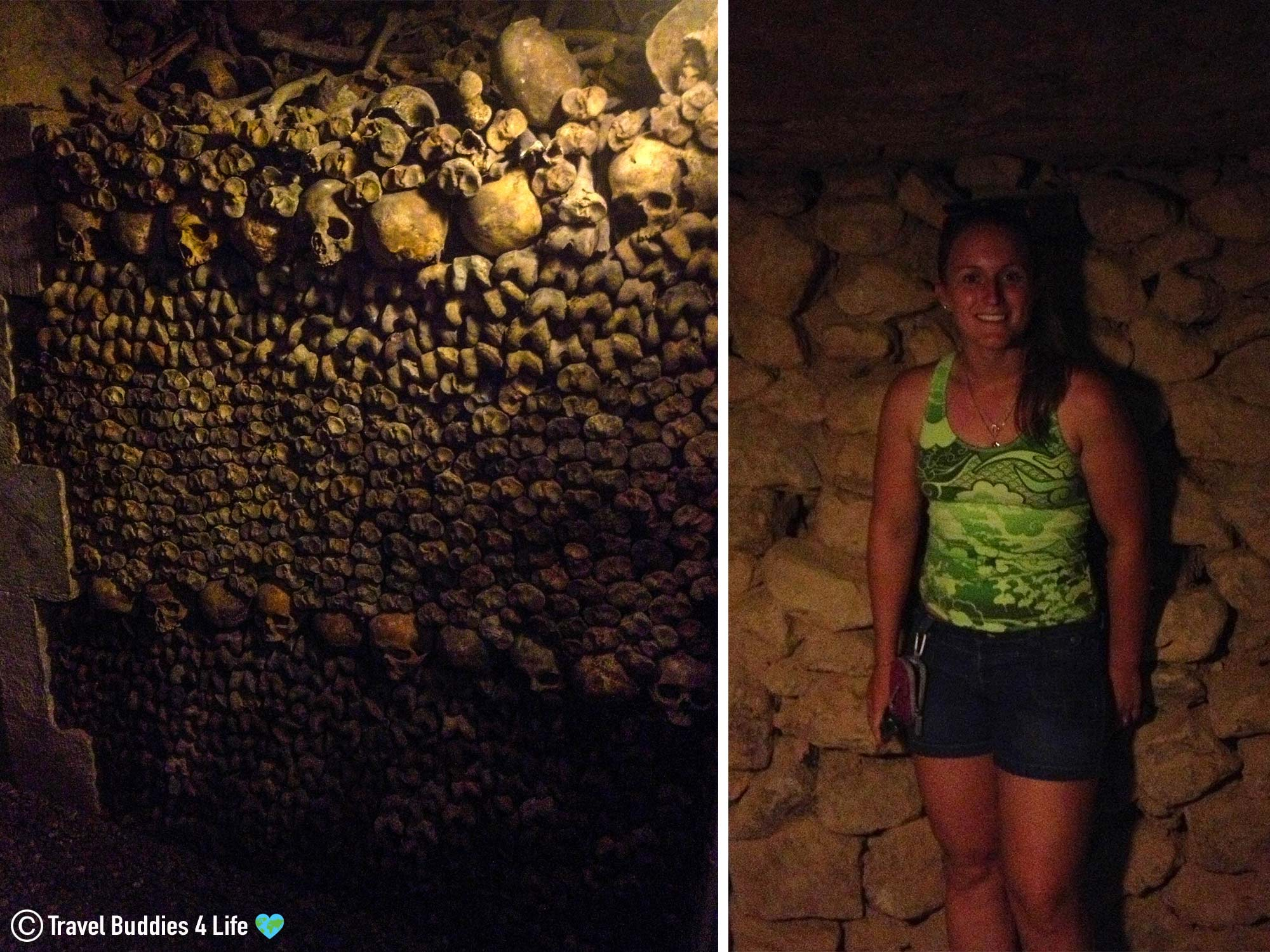 Ali In The Tomb Of The Catacombs Surrounded By Lots Of Bones, Paris, France, Europe