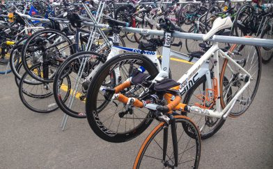 Ali's Race Bike On The Rack In The Ironman Transition Zone
