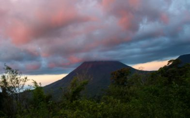 The Arenal Volcano with the Sun Setting on the Clouds