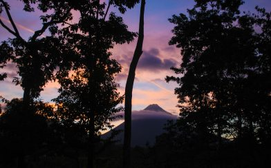 The Arenal Volcano Sunset Through the Trees in Costa Rica