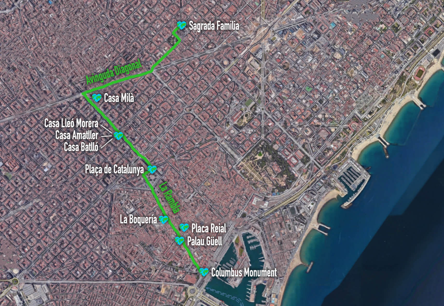 Barcelona Highlights Walking Path, Spain, Europe
