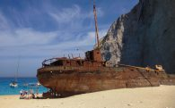 Behind The Shipwreck On Navigo Beach, Greece