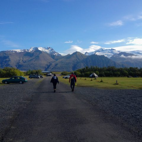 Skaftafell Campsite with Icelandic Mountains in Background
