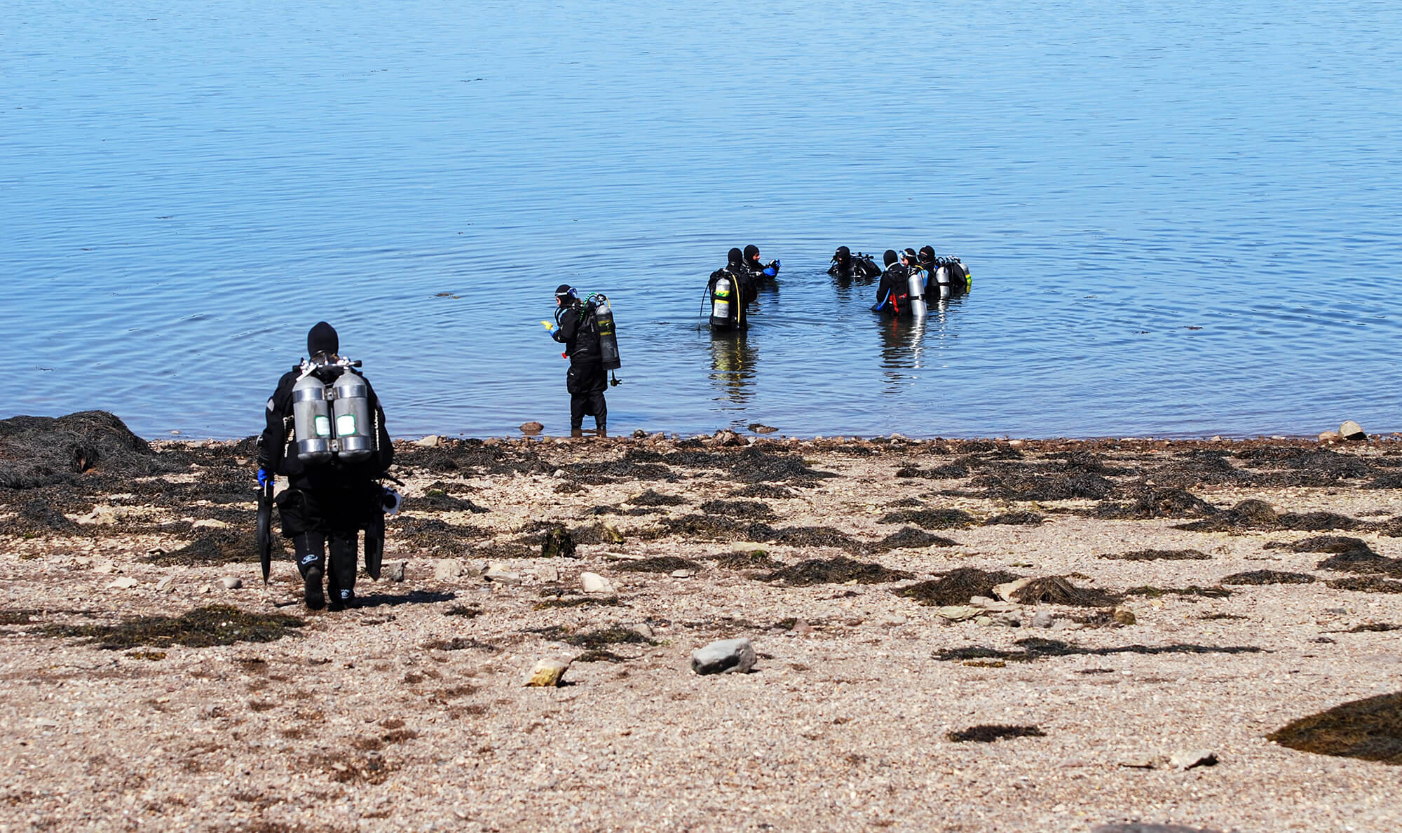 Canadian Scuba Divers on a Beach in New Brunswick