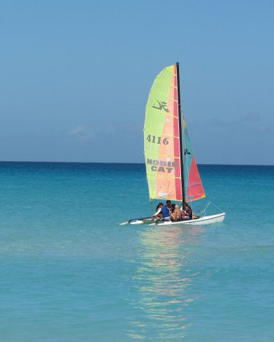 A Cuban Catamaran out on the Water