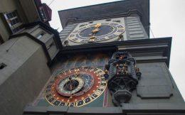 Clock Tower In The Capital Of Switzerland, Bern