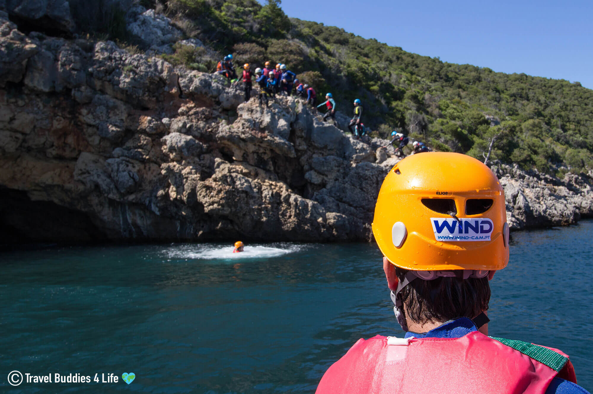 WIND Helmet from the Boat Watching Someone Coasteering in Portugal
