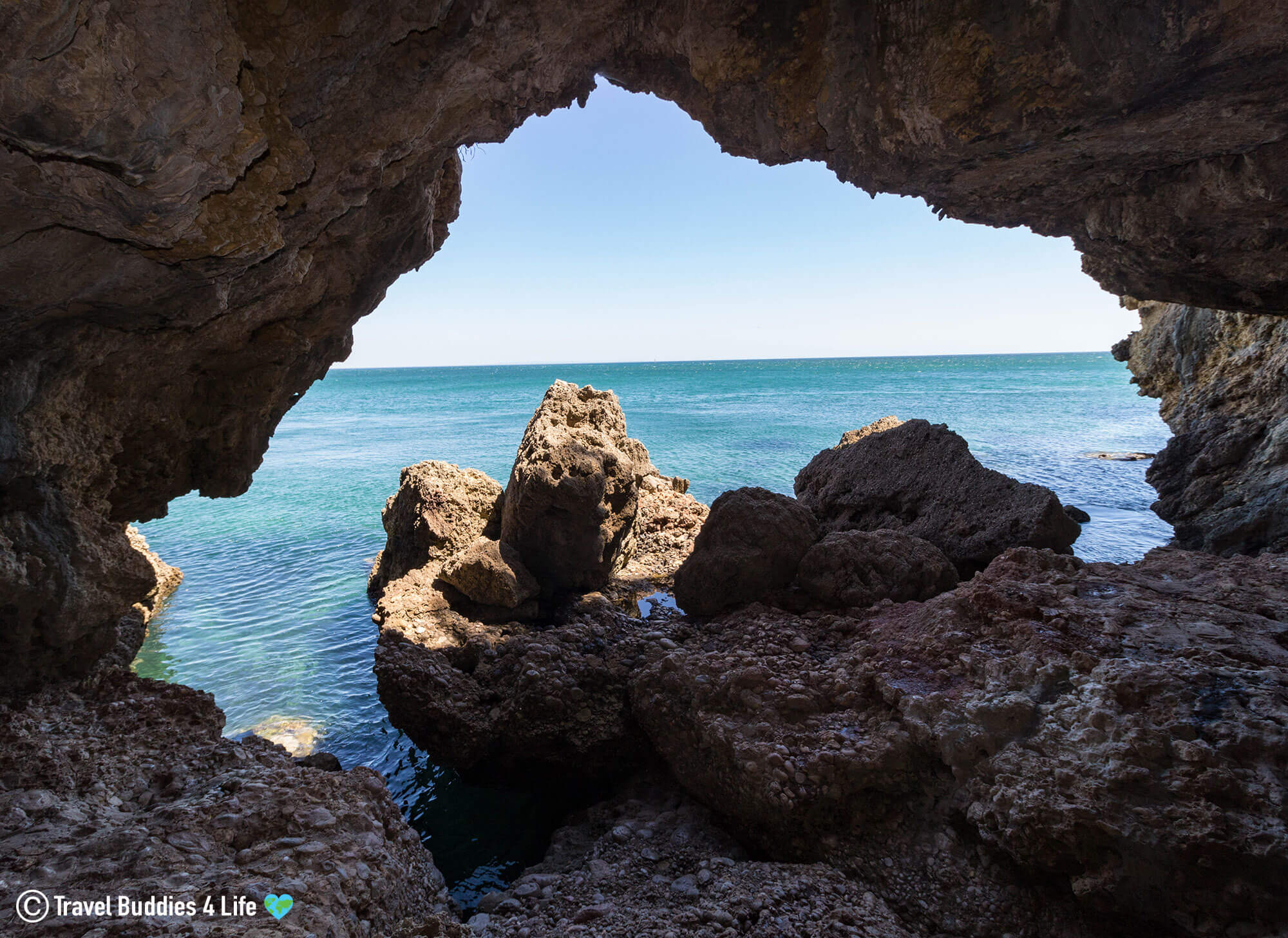 Large Sea Cave Along the Coast of Portugal's Arrábida Region