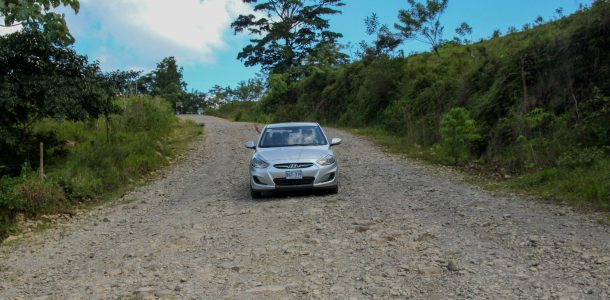 Driving Down a Rocky Costa Rican Hill in the Rental Car