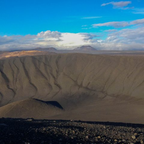 Crater with Blue Skies in Myvatn, Iceland