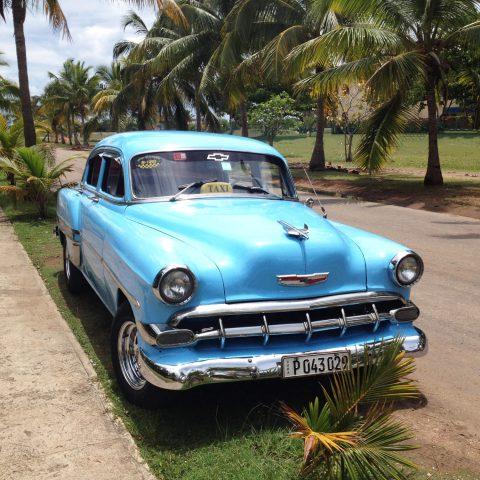 Blue Cuban Car on the Street
