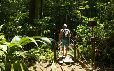Dad Braving the Old Bridge at the Rio Celeste