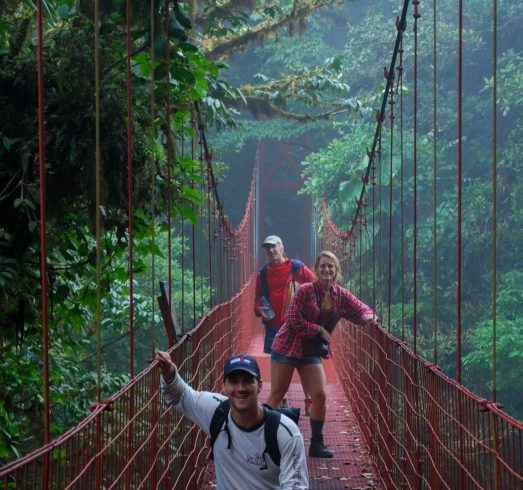Dad, Joey and Ali on the Suspension Bridge of Monteverde, Costa Rica