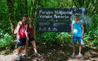 Dad, Joey and Ali With the Tenorio Volcano National Park Sign