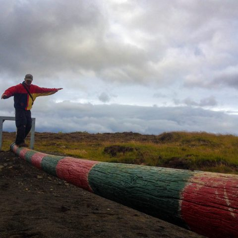 Dad on the Balance Beam in Fossatún