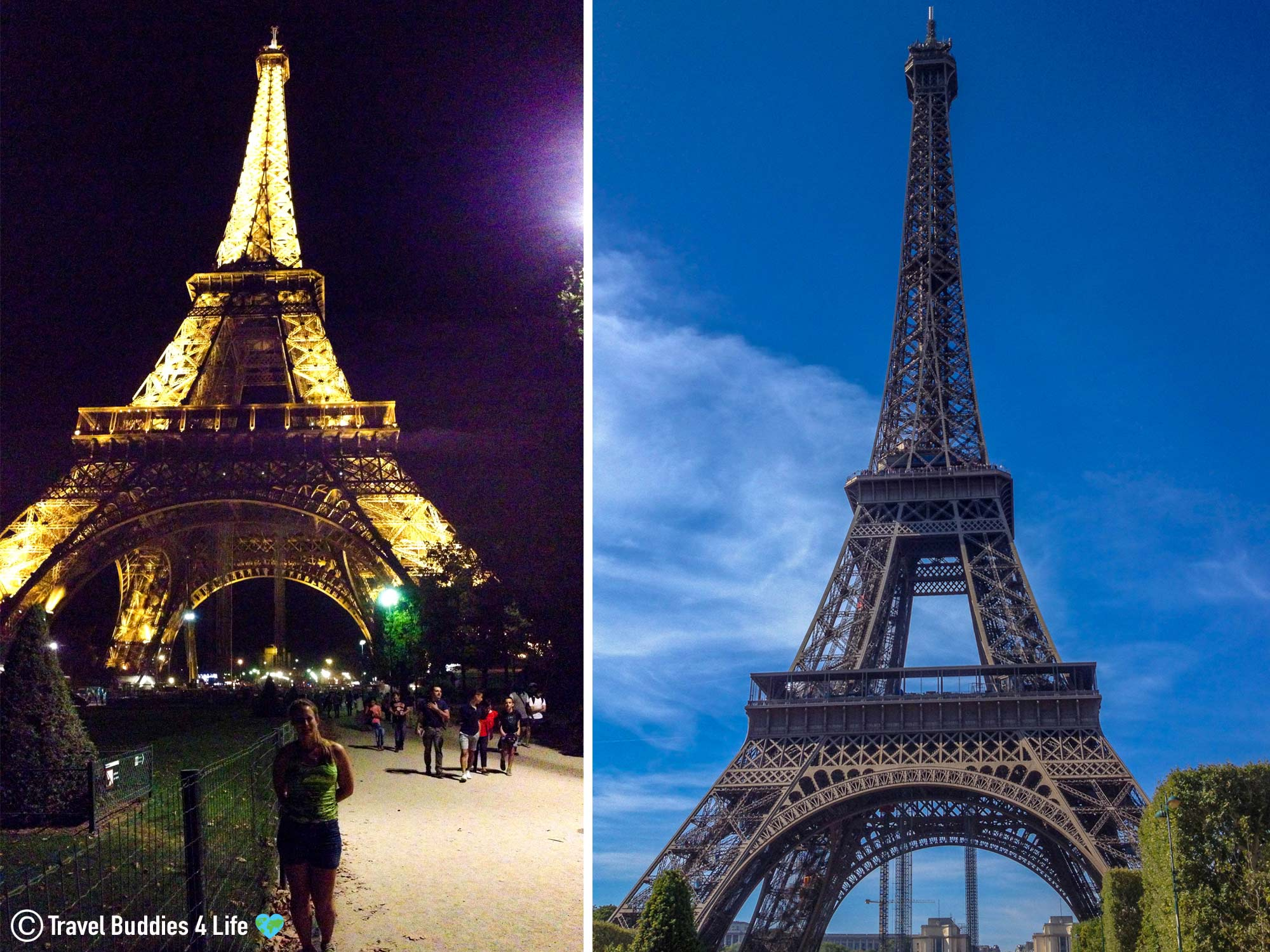 Day And Nighttime Versions Of The Eiffel Tower In Paris, France, European Monument