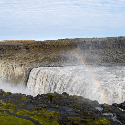 The Dettifoss Waterfall with a Misty Rainbow