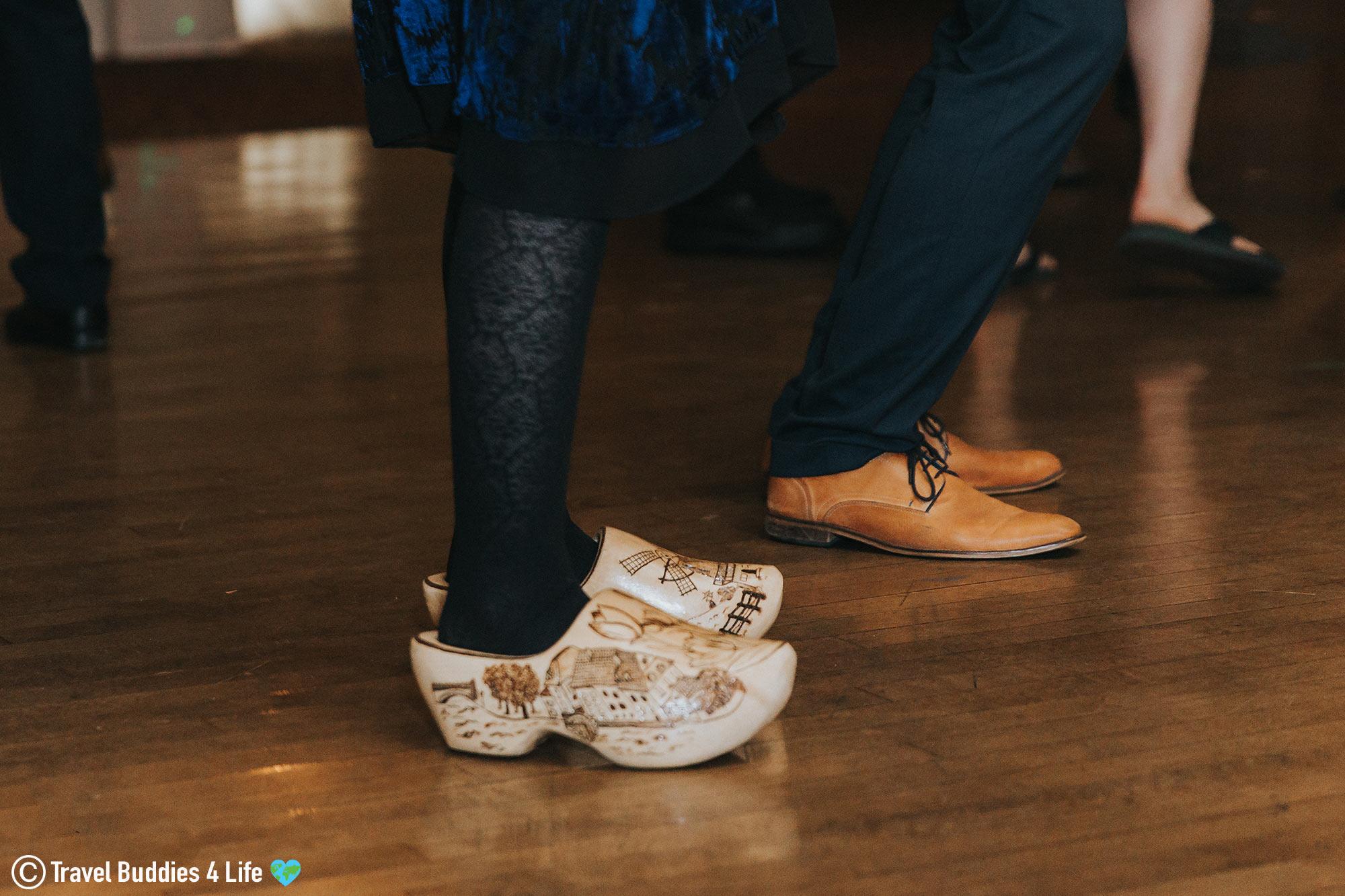 Dutch Wooden Wedding Clogs On The Feet Of A Dancer In Canada