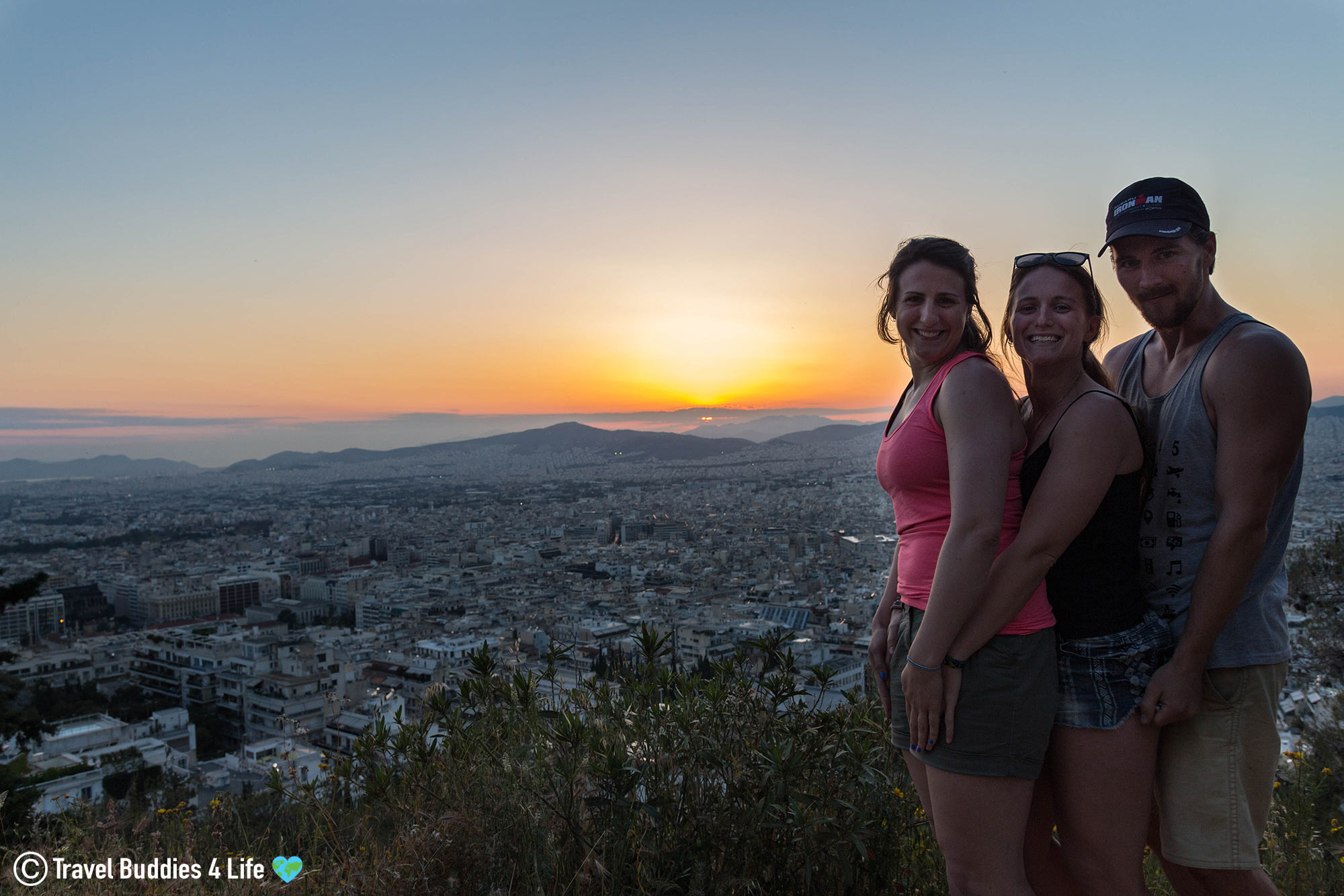 Enjoying The Colourful Sunset From The Top Of Mount Lycabettus In Athens, Greece, Traveling Europe