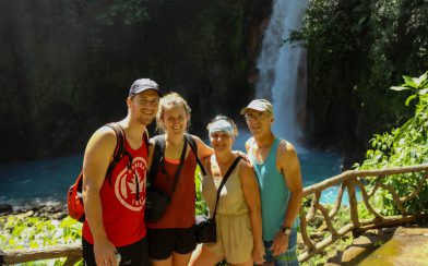 A Family Picture with the Rio Celeste Falls