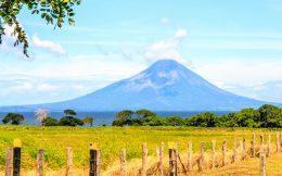 Farmland and Volcano