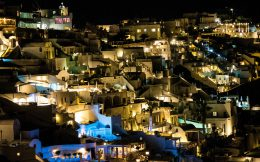 Fira At Night, Santorini, Greece