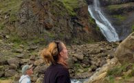The Glymur Waterfall with Ali and Dad Observing