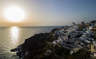 Greek Sunset Over Santorini's Oia Town