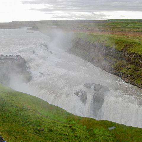 A Front View of the Gullfoss Waterfall