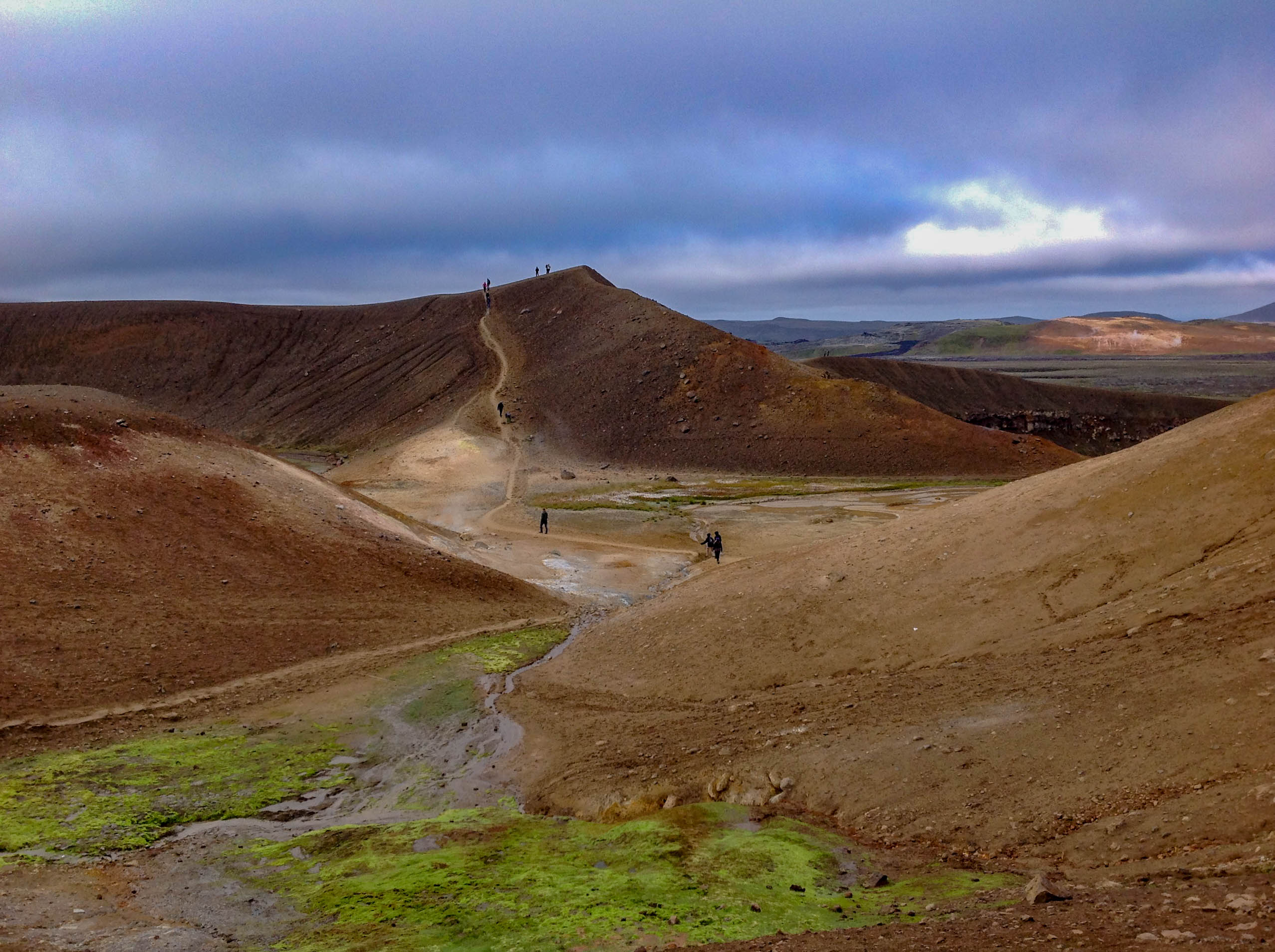 Hiking on the Edge of the Krafla Volcano in Myvatn, Iceland
