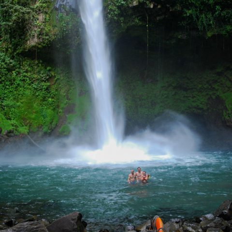 Joey, Dad and Ali in the La Fortuna Falls Swimming