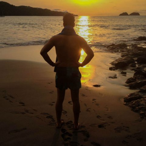 Joey Looking out at the Sunset at Playa Hermosa, Costa Rica