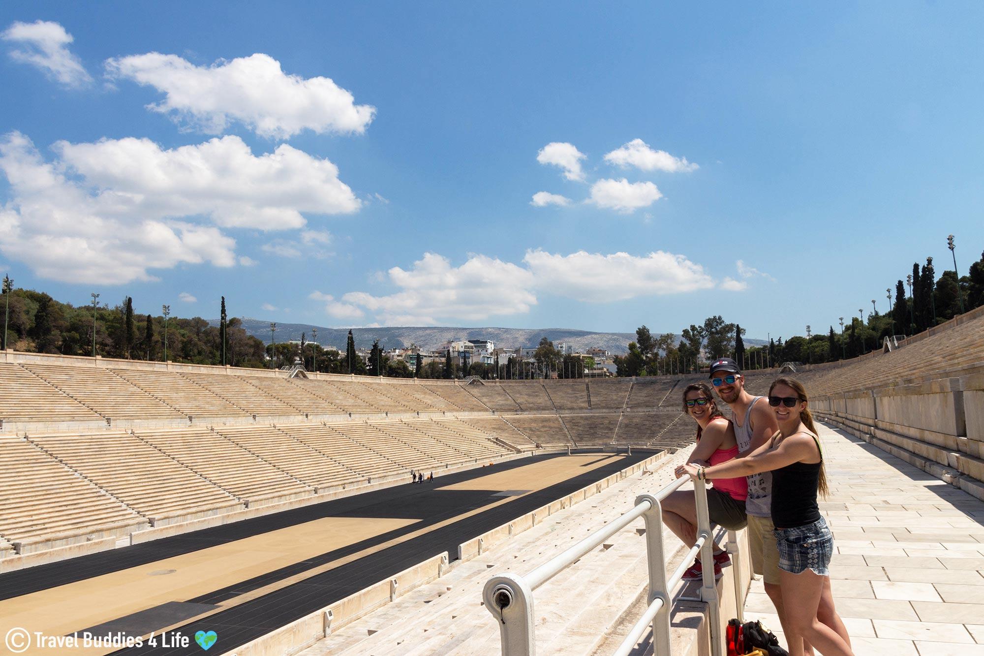Joey, Nadine And Ali Looking At The Olympic Panathenaic Stadium While Touring Athens, Historic Greece, Europe