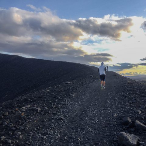 Joey Running up the Crater in Iceland