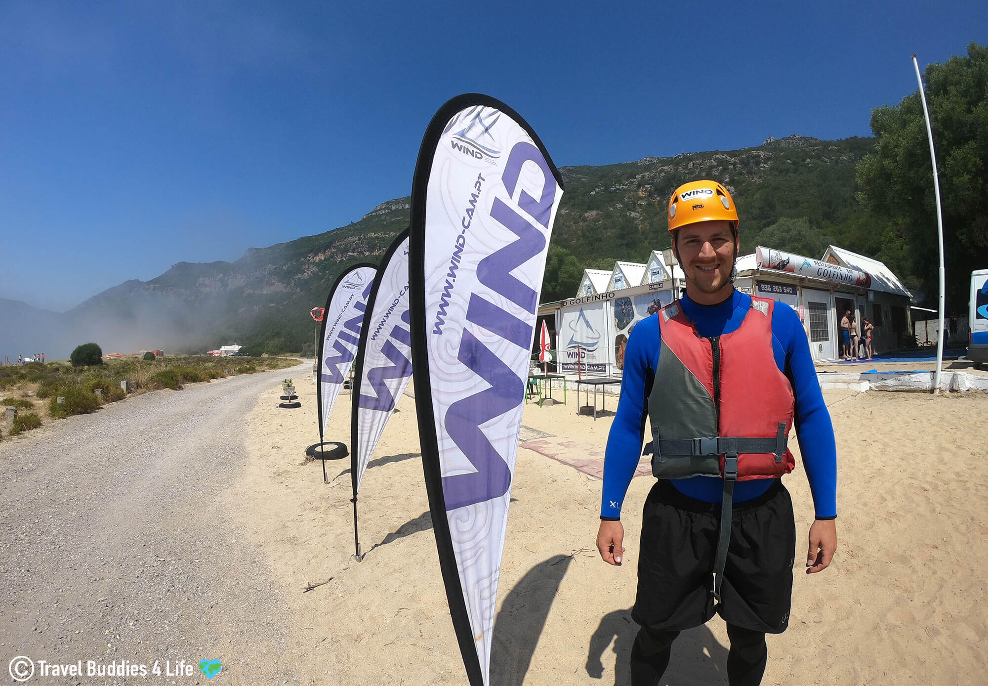 Joey suited up in his Coasteering Gear and Ready for Action with WIND in Portugal
