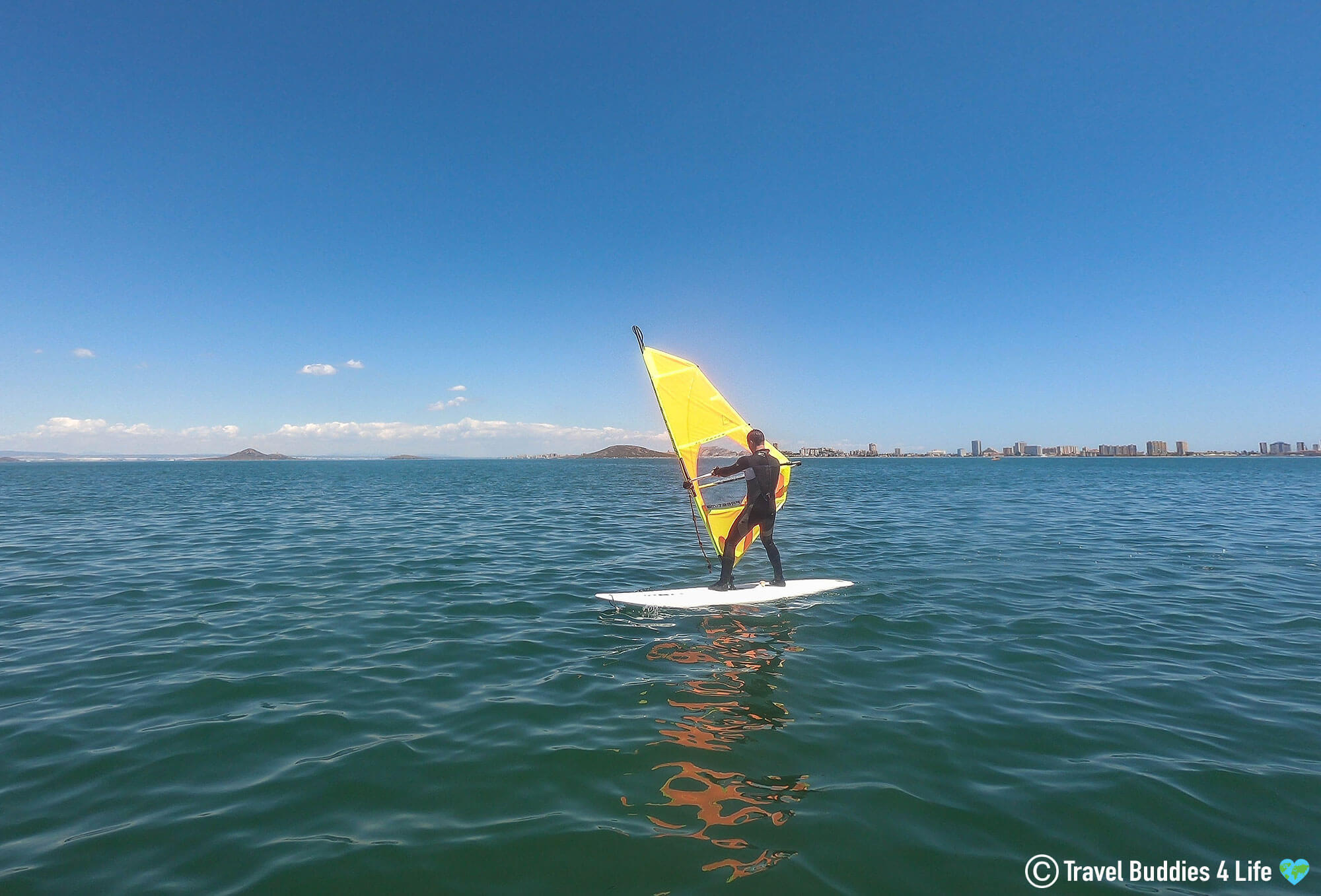 Joey Trying Windsurfing on Mer Menor in Spain