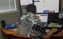 Joey Working With His Tinfoil Ironman Blanket