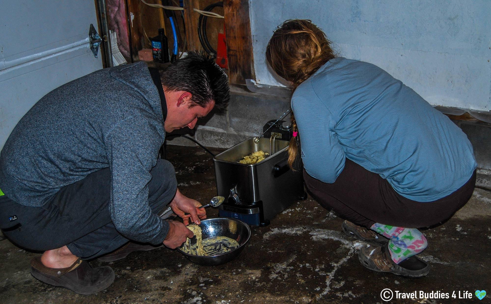 Joey And Ali Frying Dutch Olieballs In Garage, Canada