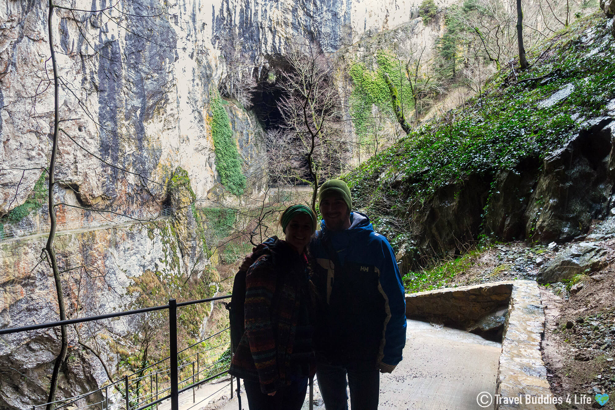 Joey and Ali Silhouette Outside of Slovenia's Škocjan Caves UNESCO Site in the Karst Region of Europe's Balkan Countries