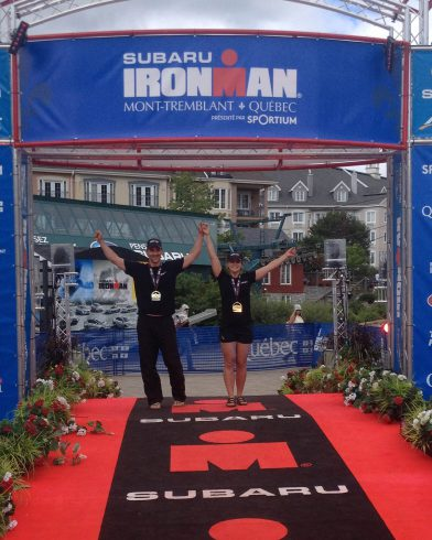 Joey And Ali Victoriously At The Finish Line Of The Ironman